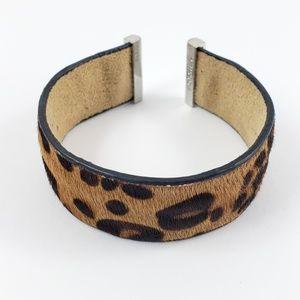 Fossil Cuff Bracelet Leopard Cow Skin Leather